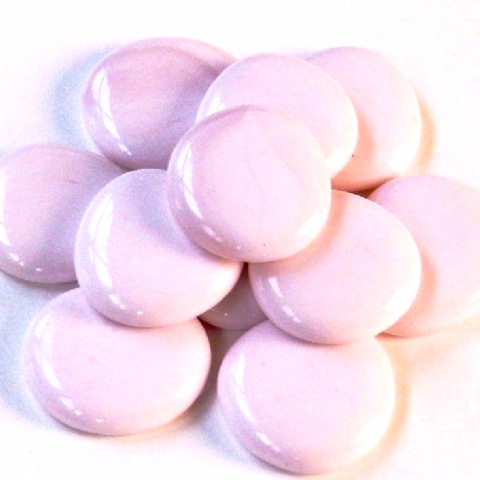 6 Large Glass Pebbles - Pink Marble